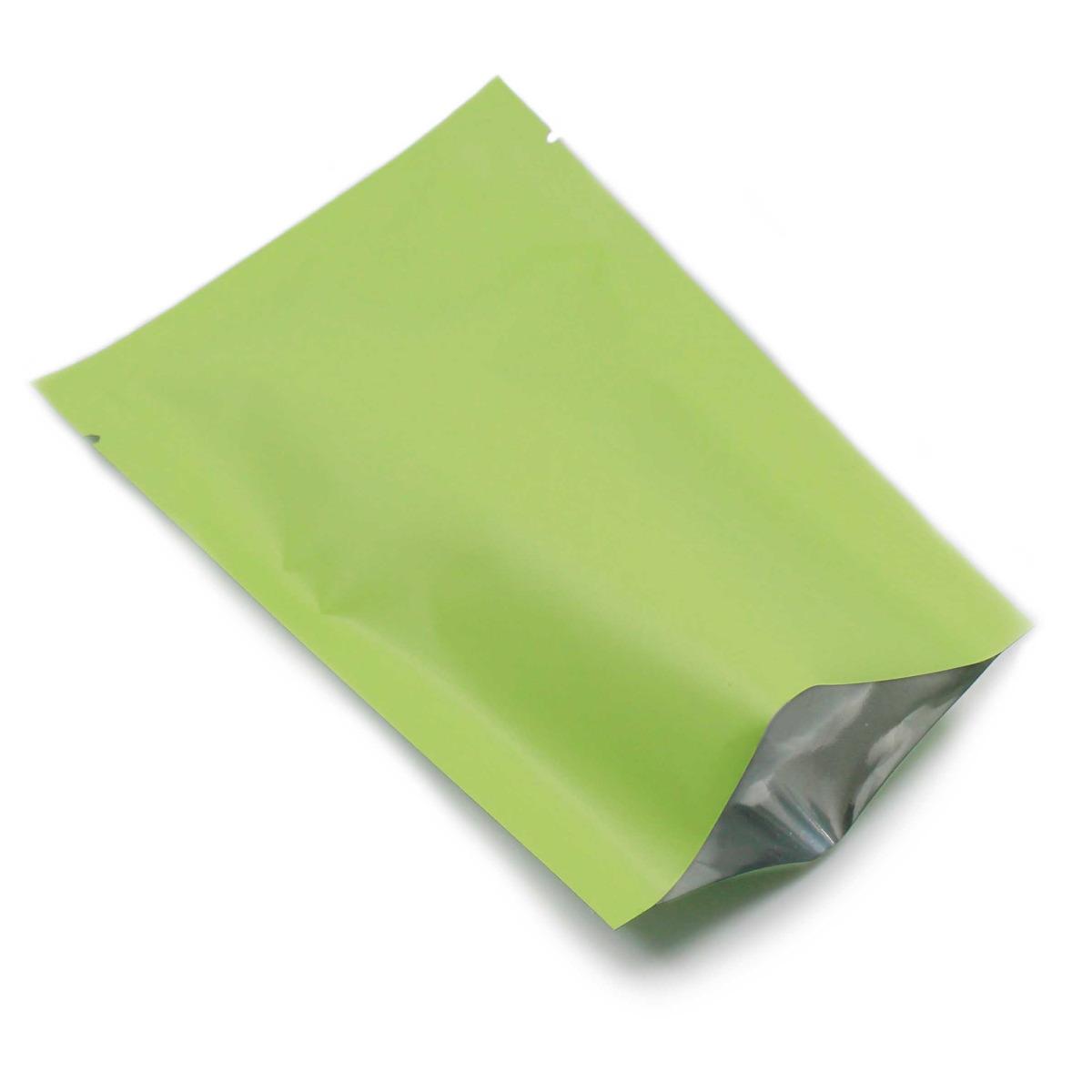 100Pcs Matte Green Aluminum Foil Bag Food Storage Vacuum Sealed Mylar Package