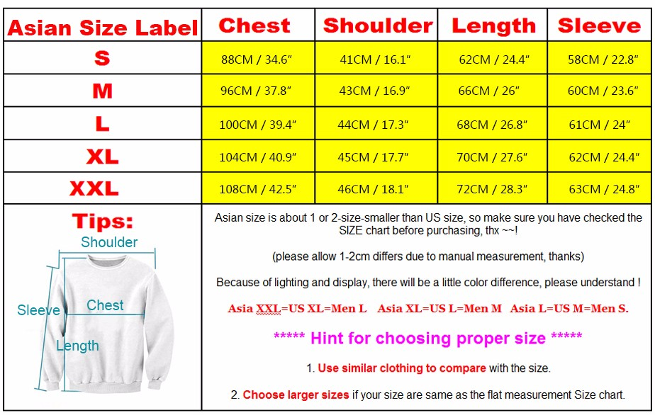 Asian To American Shirt Size Chart