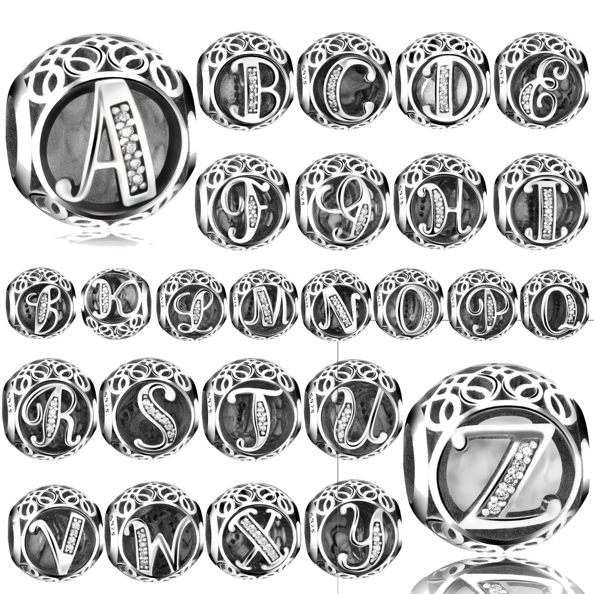 5PCS Antique Silver Dangle Beads Charms Beads Fit European Bracelet U Choose