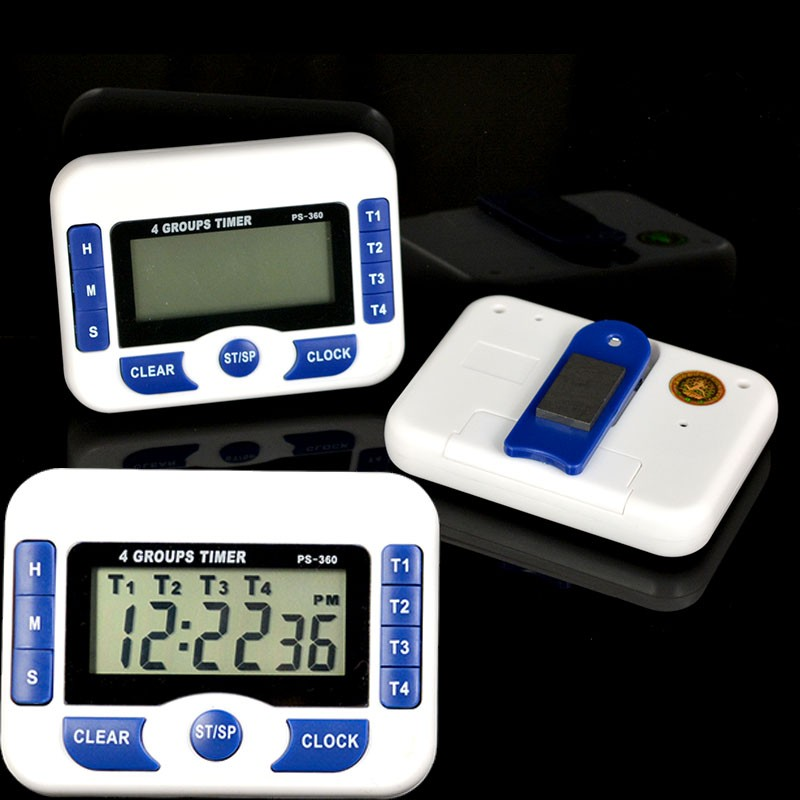 4-Channel Electronic Digital Timer Kitchen Cooking Countdown Clock 99hr59min