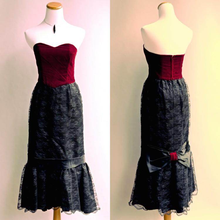 Vtg 80s Goth Punk Dress Red Velvet Black Lace Victorian Formal Gown