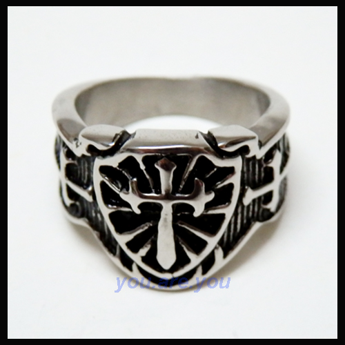 Shield Cross Face Mens Stainless Steel Ring Size 8  13 Gift Box