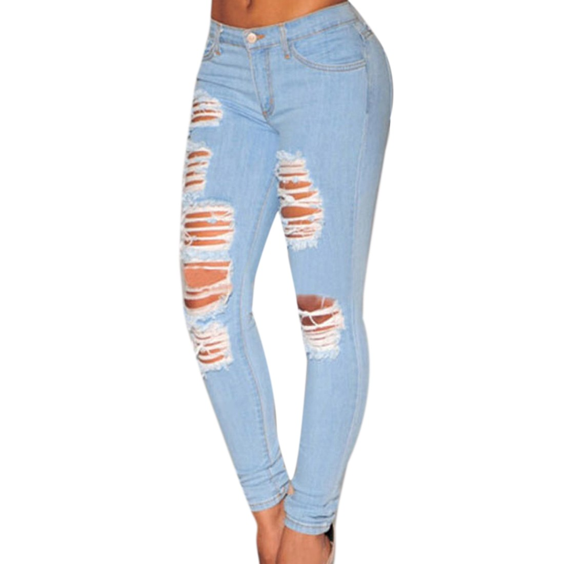 populaire femme taille haute slim broken hole boyfriend denim jean pantalon pantalon ebay. Black Bedroom Furniture Sets. Home Design Ideas