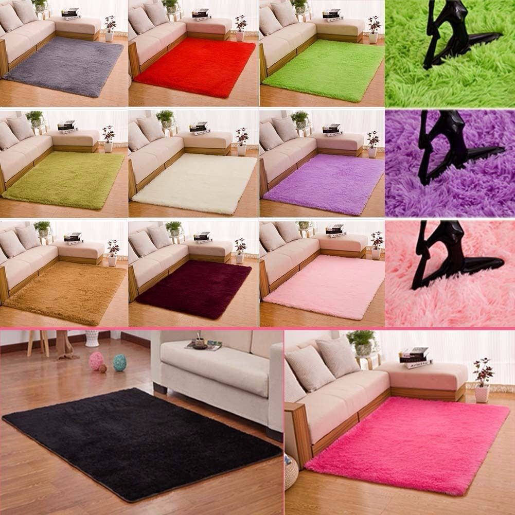 Shaggy Fluffy Anti Skid Area Rugs Dining Room Carpets Home Bedroom
