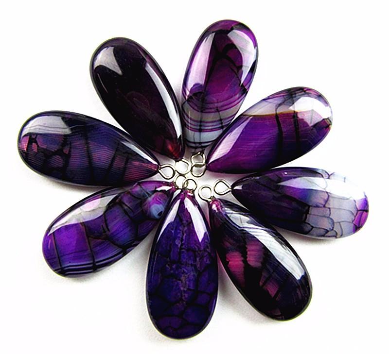 6PCS 30x15x7mm black purple dragon veins agate teardrop pendant bead Vk6142
