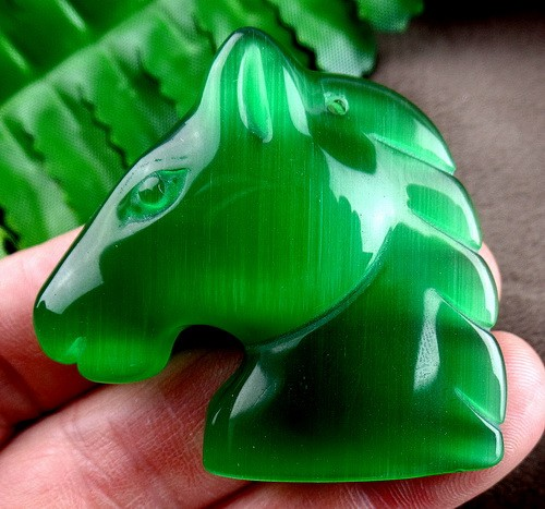 44x45x12mm green cat eye gemstone carved horse head pendant bead Vk9070