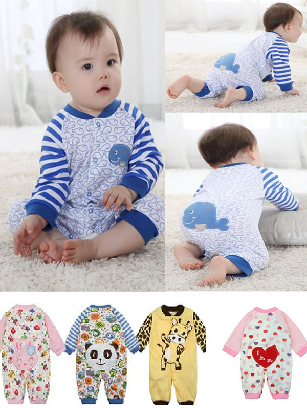 New Hot Baby Girls Boys Toddlers Romper Coverall Clothes Cotton Size 0 12 Months
